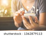 hand of woman using mobile... | Shutterstock . vector #1362879113