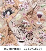 france travel seamless pattern. ... | Shutterstock . vector #1362915179