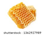Yellow Honeycomb Slice Closeup...