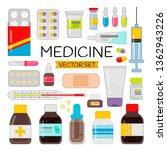 cartoon medicines set. vector... | Shutterstock .eps vector #1362943226
