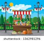 traditional market wooden food... | Shutterstock .eps vector #1362981296