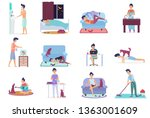 daily life  everyday routine... | Shutterstock .eps vector #1363001609