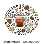poster with cute doodle con... | Shutterstock .eps vector #1363009220