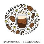 poster with cute doodle vienna... | Shutterstock .eps vector #1363009223