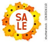 orange and yellow round flowers ... | Shutterstock .eps vector #1363026110