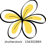drawing tropical plumeria... | Shutterstock .eps vector #136302884