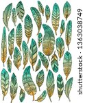 ethnic pattern feathers.... | Shutterstock . vector #1363038749