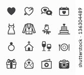 wedding icons and love icons... | Shutterstock .eps vector #136304489