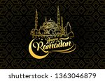 happy ramadan lettering... | Shutterstock .eps vector #1363046879