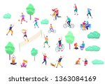 people spending time  relaxing... | Shutterstock .eps vector #1363084169