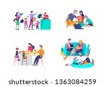 collection of family hobby... | Shutterstock .eps vector #1363084259