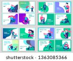 set of landing page templates... | Shutterstock .eps vector #1363085366