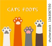 Stock vector cat flat design prints cartoon cute cat foot wallpaper vector illustration 1363087550