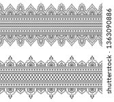 set of seamless border ornament ... | Shutterstock .eps vector #1363090886