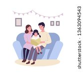 happy happy family sitting on... | Shutterstock .eps vector #1363094543