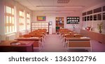 classroom with table  chairs ... | Shutterstock . vector #1363102796