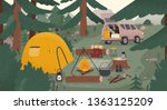 forest touristic camp with tent ... | Shutterstock .eps vector #1363125209