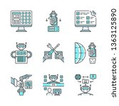 rpa color icons set. robotic... | Shutterstock .eps vector #1363125890