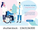 old man on wheelchair talking... | Shutterstock .eps vector #1363136300