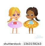 afro american caucasian girl in ... | Shutterstock .eps vector #1363158263