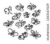 Butterflies Hand Drawn Outline...