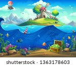 undersea world with baloon on... | Shutterstock .eps vector #1363178603