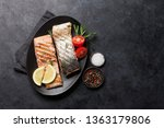 grilled salmon fish fillet with ... | Shutterstock . vector #1363179806