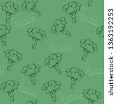 broccoli hand drawn vector... | Shutterstock .eps vector #1363192253