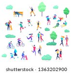 people spending time  relaxing... | Shutterstock .eps vector #1363202900