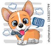 cute cartoon dog corgi with a...   Shutterstock .eps vector #1363207799