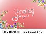 spring sale advertising text... | Shutterstock . vector #1363216646