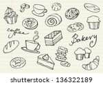 various cakes   bakery doodle...   Shutterstock .eps vector #136322189