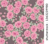 floral pattern with one stroke... | Shutterstock . vector #1363239980