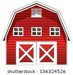 Illustration Of A Red Barn...