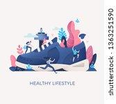 concept of healthy living  ... | Shutterstock .eps vector #1363251590