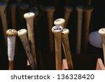 baseball bats standing on end | Shutterstock . vector #136328420