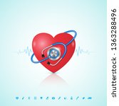 healthcare concept heart with... | Shutterstock .eps vector #1363288496