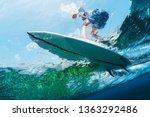 underwater view of the surfer...   Shutterstock . vector #1363292486