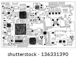 circuit board  hand drawn. | Shutterstock . vector #136331390