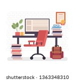 freelancer empty home workplace.... | Shutterstock .eps vector #1363348310