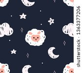 cute night stars sheep pattern... | Shutterstock .eps vector #1363377206