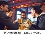 happy friends eat burgers ... | Shutterstock . vector #1363379360