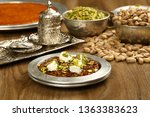 turkish dessert kunefe with... | Shutterstock . vector #1363383623