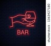 hand hold cognac neon sign....   Shutterstock .eps vector #1363427180