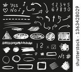 hand drawn shapes on isolated... | Shutterstock . vector #1363428029