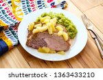 cuban sliced pork roast topped... | Shutterstock . vector #1363433210