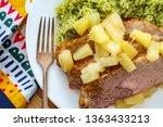 cuban sliced pork roast topped... | Shutterstock . vector #1363433213