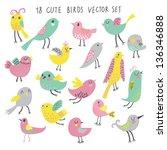 cute cartoon birds   funny... | Shutterstock .eps vector #136346888