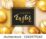 golden lettering happy easter...   Shutterstock . vector #1363479260