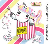 cute unicorn girl with a... | Shutterstock .eps vector #1363508549